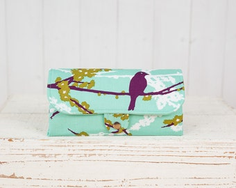 SmartPhone Purse 12x - Ultimate Wallet Clutch with ID pocket /  Hello Birdie in Lake -- Ready to Ship