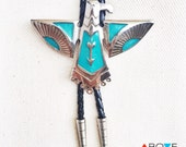 Turquoise BOLO TIE NECKLACE - 'Thunderbird' Totem Bolo Tie