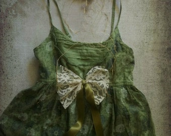 Poison Ivy Mori Girl Woodland. Shabby Bohemian Peasant Sundress. Rustic Romance . Size XS