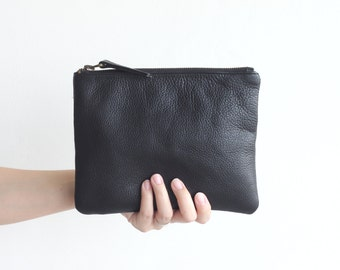 Black Zipper Pouch. Black Leather Pouch. Black Leather Wallet. Soft Pebbled Leather. Leather Wallet. Wedding gift. Bridesmaid Gift. Gift Bag