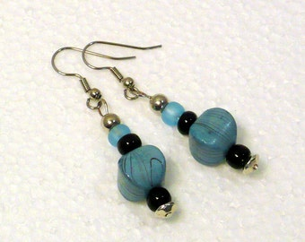 Aqua Drop Earrings - Turquoise Glass Beaded Dangle Earrings, Nickle-Free Silver Ear Wires, Handmade in the USA, Ready to Ship
