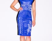 Blueprint Rocket Scientist Dress, NASA Apollo9 SaturnV Engineering Clothing, Blue Dress, Technical Drawing