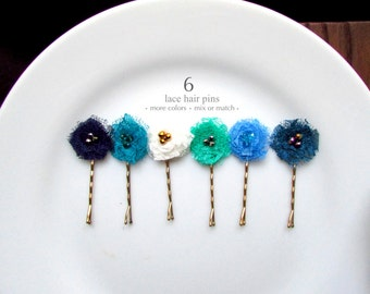 PICK 6 Shabby Flower Hair Pins, Tiny Fabric Flower Hair Clips for Girls, Blue and Green Wedding hairpins, Turquoise Jade Green Navy Teal