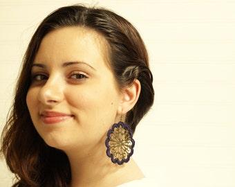 Navy Blue Crochet Medallion Earrings