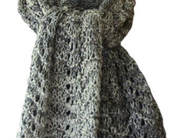 Hand Knit Scarf - Silver Grey Cashmere Silk Feather Fan Lace