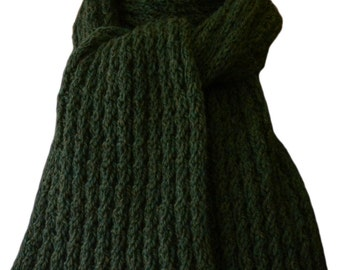 Hand Knit Scarf - Green Shire Wool Cable Rib