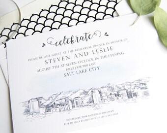 Salt Lake City Skyline LDS Rehearsal Dinner Invitations (set of 25 cards)