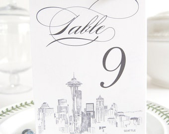Seattle Skyline Table Numbers (1-10)