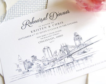 Cincinnati Skyline Rehearsal Dinner Invitations (set of 25 cards)