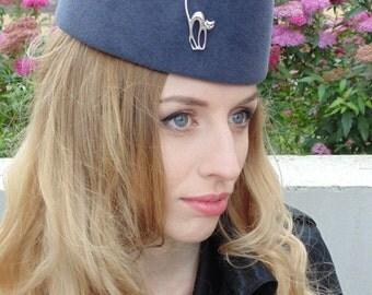 Women's felt hat Tablet in military style