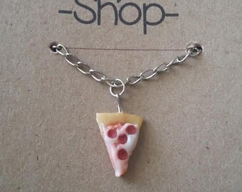 necklace pizza cheese salami slice miniature food