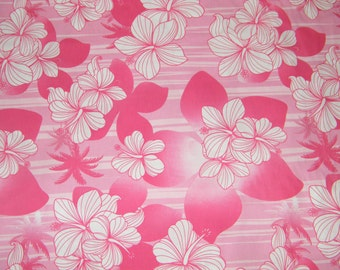 BTY TROPICAL Pink & White Floral Print 100% Cotton Quilt Craft Shirting Fabric by the Yard
