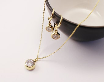 14K Gold Filled jewelry set,  gold earrings, gold necklace, simple jewelry