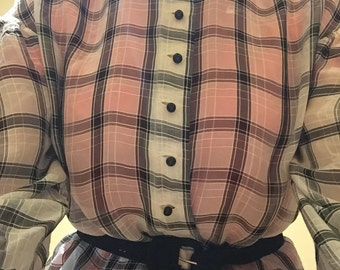 Vintage 1940 blouse White voile with black checks good condition For collector costume study sewing clothing women