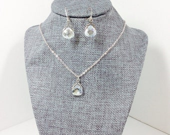 Clear Crystal AB Briolette Necklace and Earring Set, Silver plated, Briolette Jewelry Set, Prom Jewelry Set, SP00044