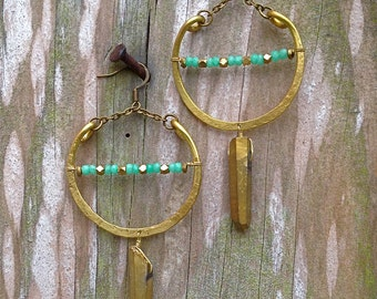 Half Moon Hammered Brass Hoops~ Quartz.Chysoprase