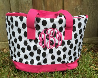 Monogammed black brushed dots Insulated cooler tote bag with pink trim