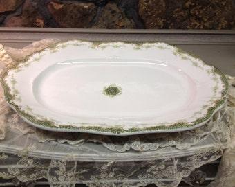 Antique Vintage Haviland Limoges France Platter made for Burley & Co., Chicago - White with Green
