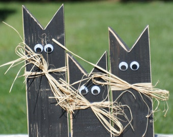 primitive black cat halloween decor halloween decorations haunted house decor halloween porch - Etsy Halloween Decorations