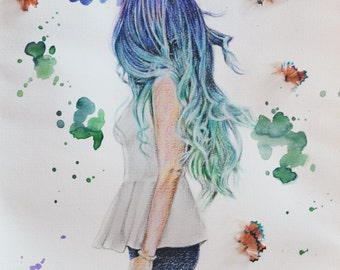 Ombre Hair Water Color Painting Digital Print