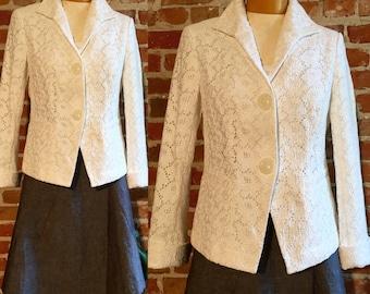 Vintage Lafayette 148 White Cotton Eyelet Jacket, Size 6