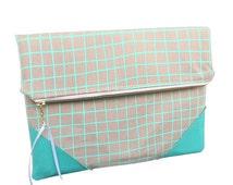 Aqua clutch, grid pattern clutch bag, cotton clutch, folded clutch, ipad sleeve, large wallet, eco friendly, made in australia