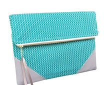 Turquoise clutch, teal clutch, clutch with zip, australian made clutch, colourful, chic and trendy, large zipper wallet, ipad sleeve