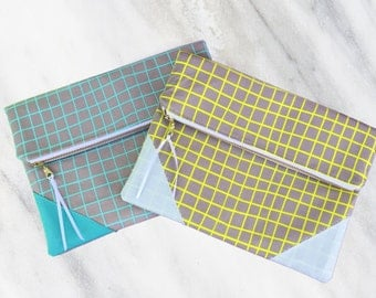 Unique bridesmaid clutch, set of bridesmaid pouches, 2 clutches, grid pattern clutch, folded clutch, wedding pouch, wedding clutch, bridal