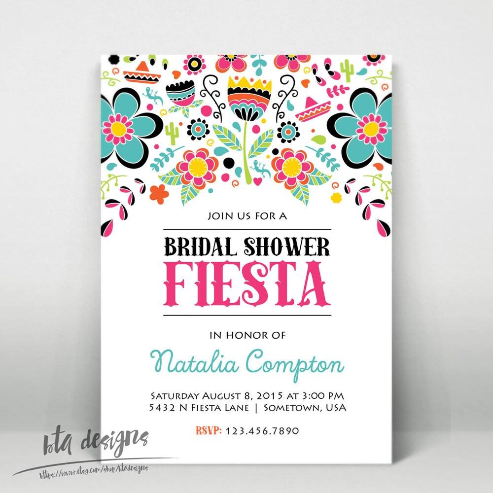 Fiesta Bridal Shower Invitation Customized Digital