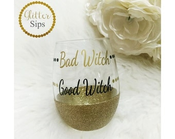Good Witch Bad Witch Halloween Stemless Glitter Wine Glass // Stemless Wine Glass // Glitter Glass // Halloween // Wine Glass // Witch