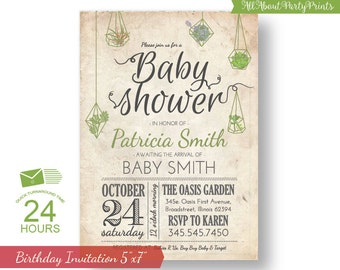 Baby Shower Invitation- Succulent Garden - 24 hour turnaround time.