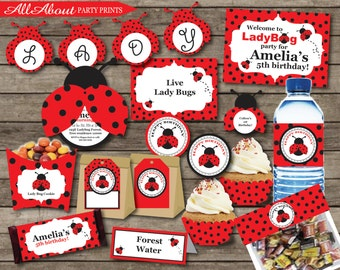 Instant Download- Lady Bug birthday party printable full collection-Personal Use Only