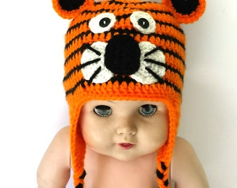Crochet Baby Tiger hat, fun animal beanie, beautiful outfit.