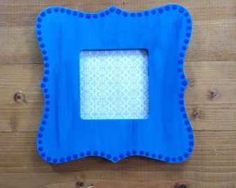 Blue Dotted Instagram-Size Square Hand Painted Picture Frame