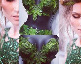 Eve Bra (with straps): rave wear, festival, edm, rave bra, halloween, costume, poison ivy, leaf, fairy, raver