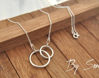 Sterling Silver Circles Necklace, 2 Circles Necklace, Circle Necklace, Sterling Silver Circle Necklace, Two Rings Necklace, Two Circle
