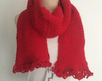 Crochet Red PatchwScarf - FREE U.S. SHIPPING
