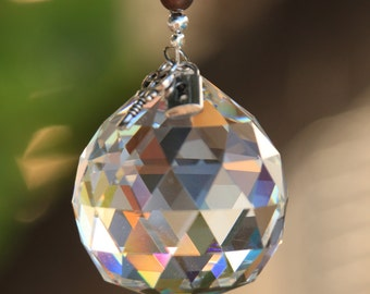 Large Hanging Crystal Ornament Suncatcher Czech Crystals/Brown Shell Gemstones
