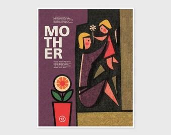 MOTHER LOVE PRINT Family Flower Art Print Giclee Poster Wall Art 8 x 10, 11 x 14, 12 x 16