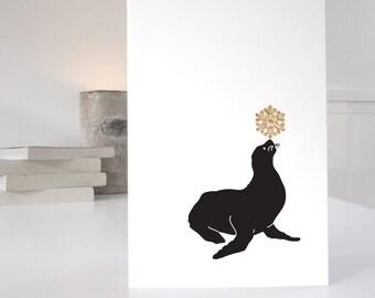 Seal Christmas Card, animal christmas cards, cute christmas cards for animal lovers, single card or packs of christmas cards