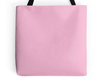 Pink Tote Bag, Pink and Black Bag, Pink Bag, Pink Purse, Pink Tote, Pink Bookbag, Pastel Pink Bag