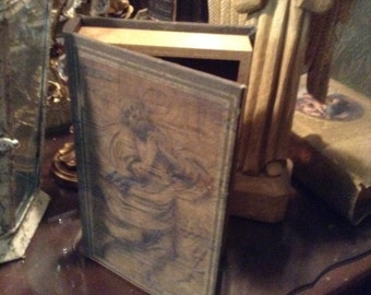 Antique Clothed Religious Book Box