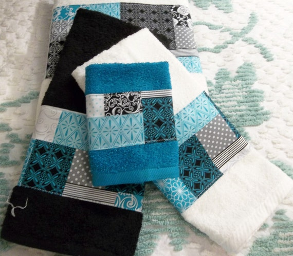 Towels Turquoise Black Gray And White Cherish Patch Bath Hand