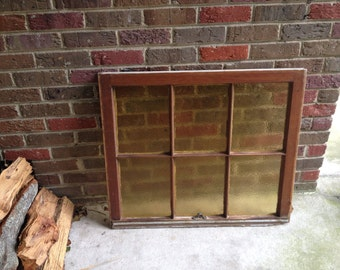 Vintage amber bubbled privacy wavy glass window