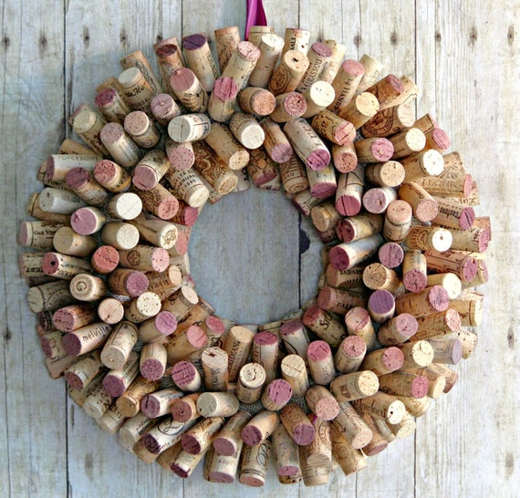 Cork Wreath: Recycled Wine Cork Wreath 17 Red And White Cork By