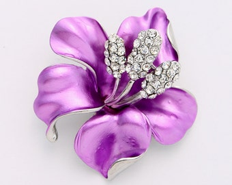 Hibiscus Brooch Destination Wedding Bridal Bridesmaid Prom Dress Sash Corsage Cake Decor Bouquet Lilac Purple Broaches DIY Jewelry Crafts