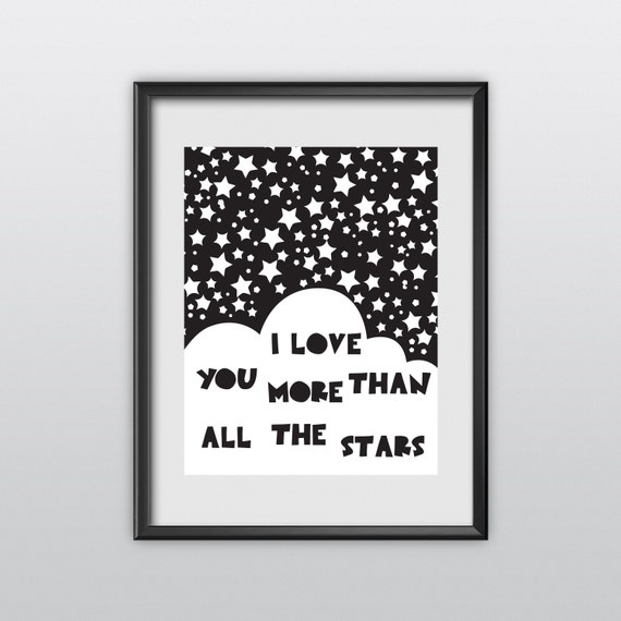 Baby Wall Art Printable Nursery Decor I Love You More Than All The Stars Gender Neutral Baby Gift I Love You Print Kids Room Art (T38)