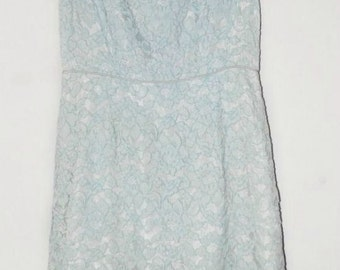 1950s light blue lace sheath dress, size medium, by A Mendel Creation