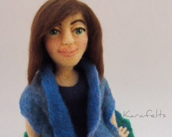 Jackie, a needle felted art doll