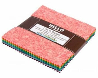 "Kaufman Fusions Meadow 5"" Charm Pack Fabric Squares Precut New Colors CHS-387-42"